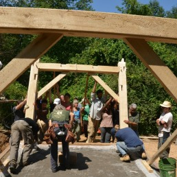 Raising the timber frame