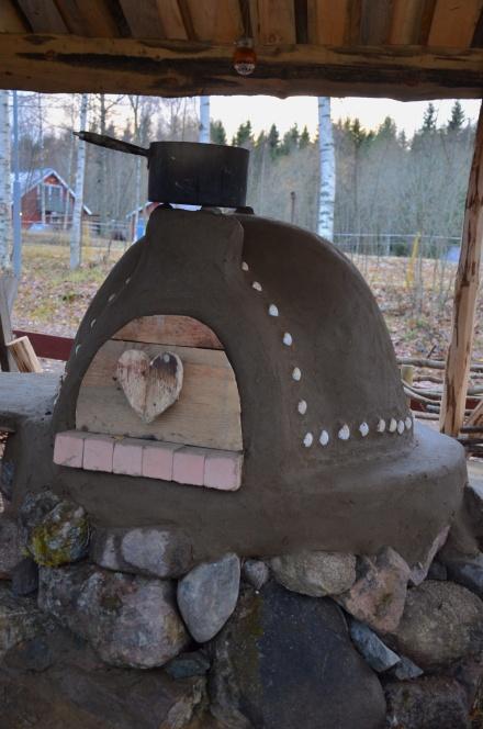 plastered cob oven