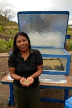 Reyna, one of the solar women, with coffee getting dried