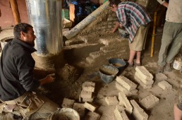 adobe bricks to build the oven