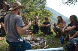 First day of the Rocket Stove Course. Josh is giving a fire demonstration