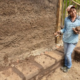 Nena making benches out of adobe bricks, Nicaragua 2013