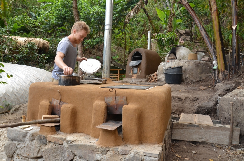Rocket stoves with Barrel and Cob Oven in the back. The Ypga Forest 2013
